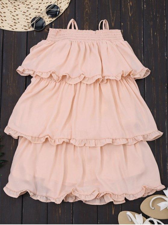 Vestido con volantes en capas de gasa mini - Rosa S