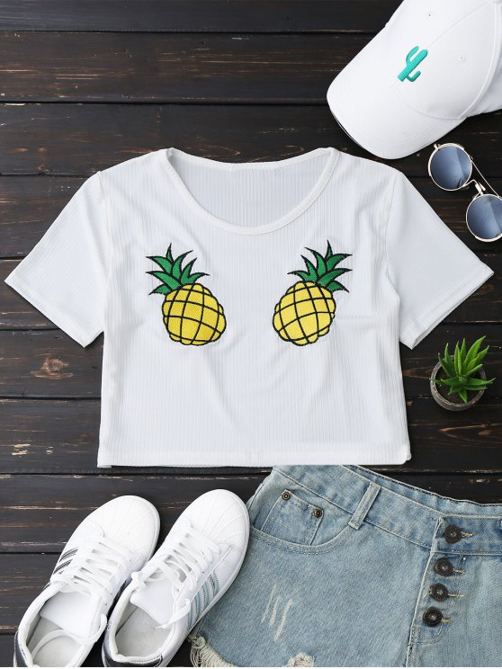 chic Pineapple Embroidered Cropped Top - WHITE L