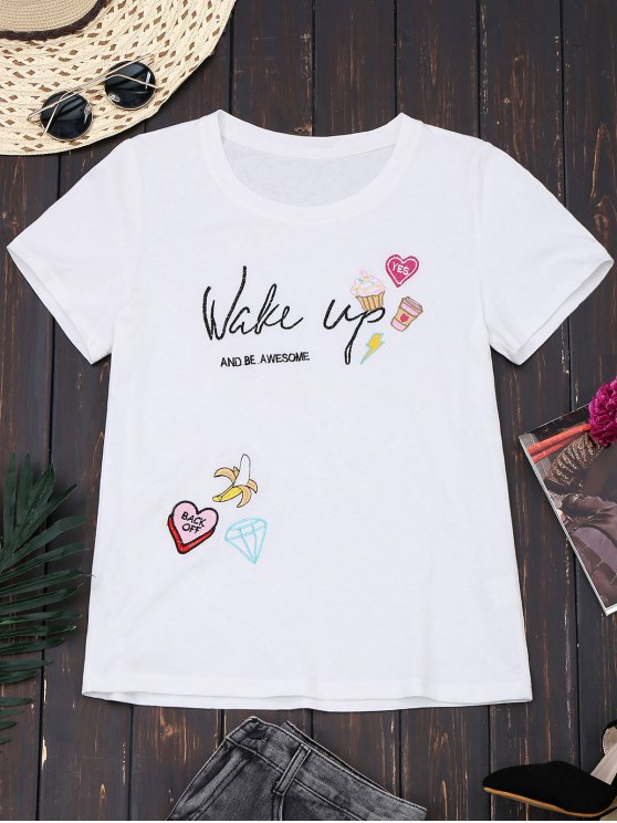 Camiseta linda bordada algodón - Blanco S