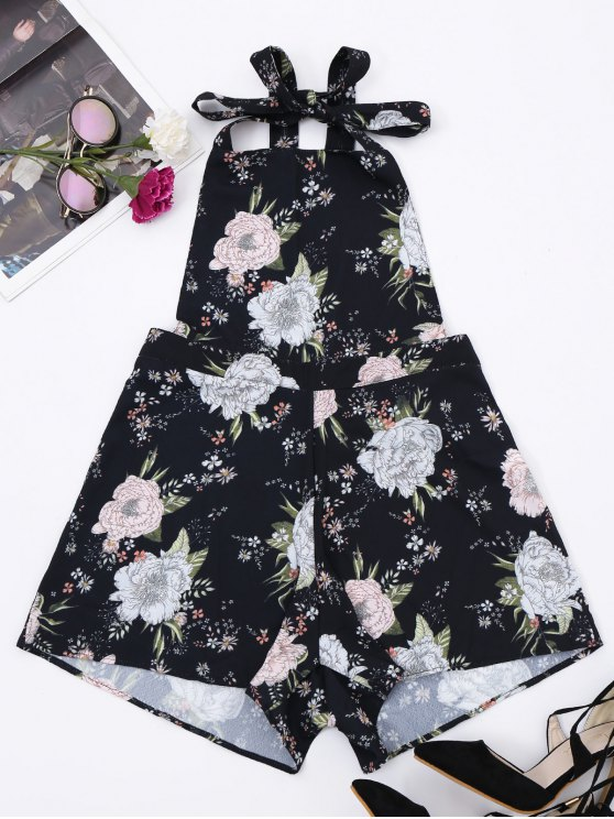 Backless Floral Pinafore Romper - Floral S