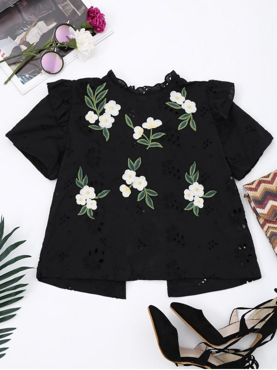 affordable Embroidered Back Bowknot Cut Out Top - BLACK S