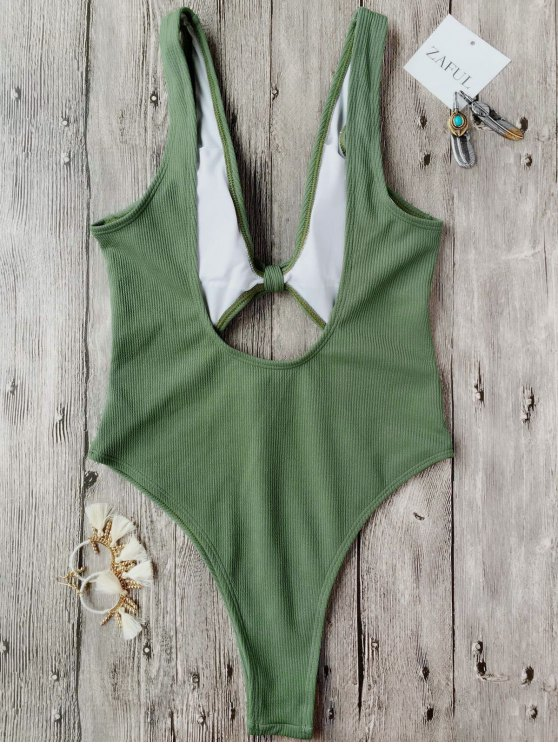 Bowknot Textured High Cut One Piece Swimsuit - GREEN S Mobile