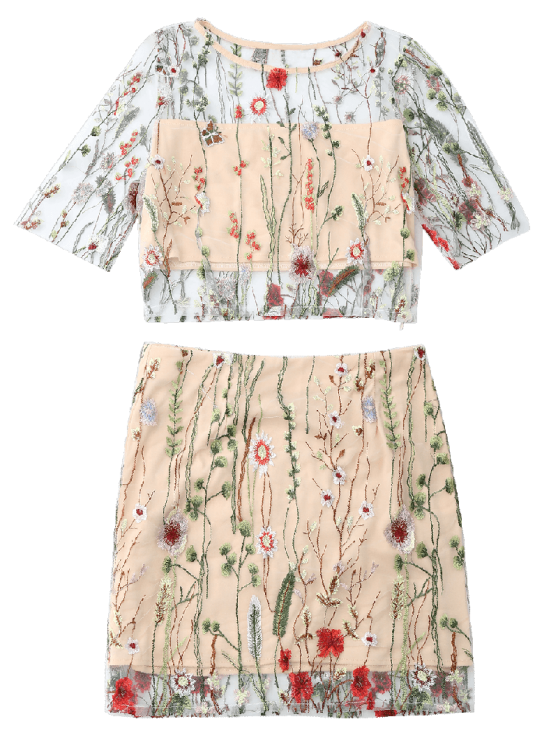 Floral Embroidered See Through Top and A-Line Mini Skirt - FLORAL S Mobile