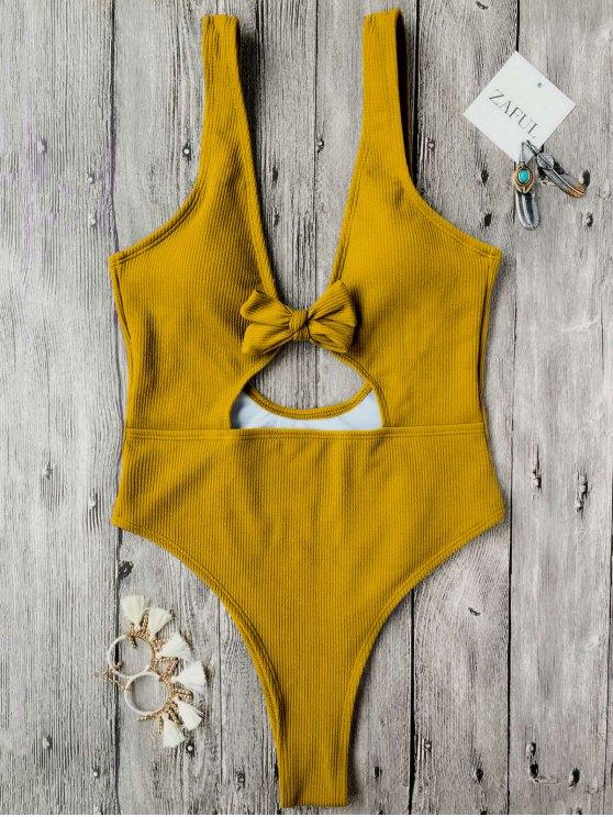 hot Bowknot Textured High Cut One Piece Swimsuit - MUSTARD S