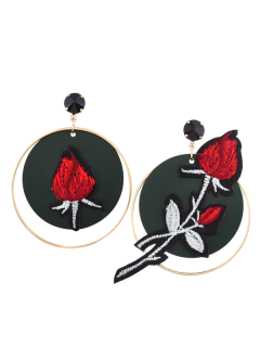 Embroidery Rose Flower Circle Drop Earrings - Red