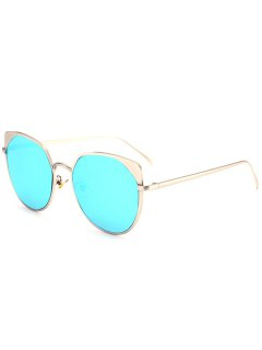 Metal Cat Eye Reflective Mirrored Sunglasses - Silver Frame + Blue Lens