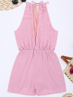 Keyhole High Neck Cut Out Romper - Pink S