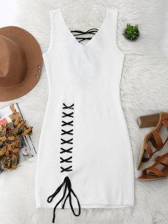الدانتيل يصل قطع تنحنح بوديكون اللباس متماسكة - أبيض
