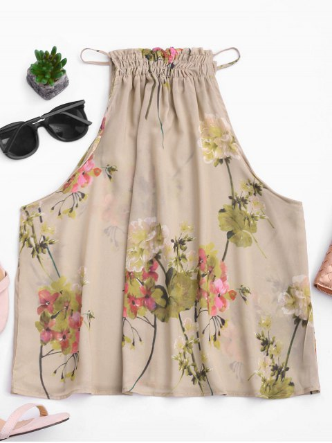 womens Floral Ruffles Chiffon Tank Top - FLORAL S Mobile