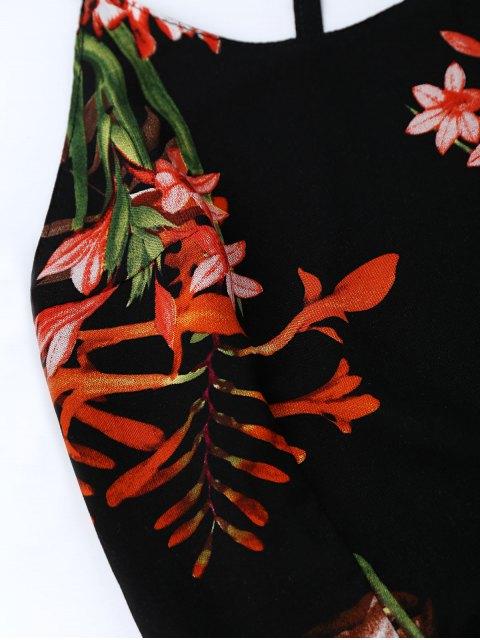buy Bohemian Floral Open Back Slit Dress - BLACK S Mobile