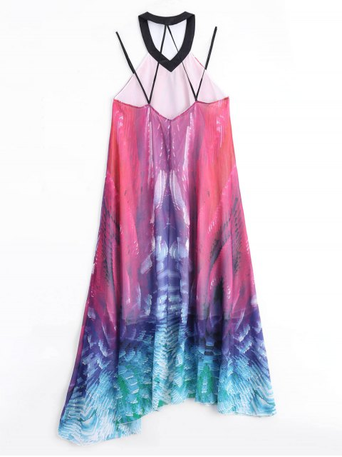 sale Flowy Maxi Chiffon Holiday Beach Dress - COLORMIX S Mobile