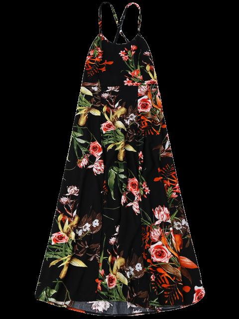 latest Bohemian Floral Open Back Slit Dress - BLACK M Mobile