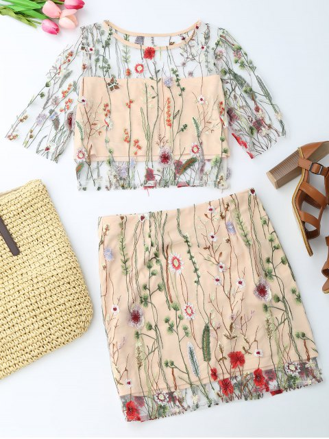 best Floral Embroidered See Through Top and A-Line Mini Skirt - FLORAL S Mobile