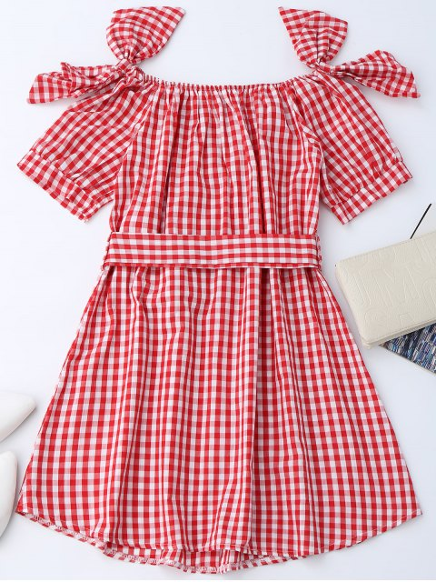 fashion Off Shoulder Bowknot Plaid Dress With Belt - RED M Mobile