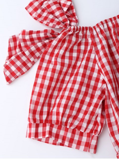 chic Off Shoulder Bowknot Plaid Dress With Belt - RED S Mobile