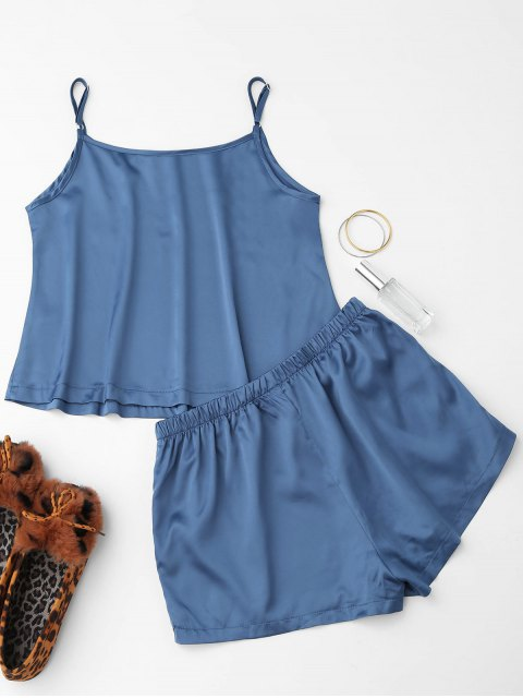 womens Cute Satin Printed Cami Loungewear Suit - BLUE S Mobile