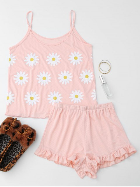 lady Cute Sun Flower Cami Ruffled Loungewear Suit - SHALLOW PINK S Mobile