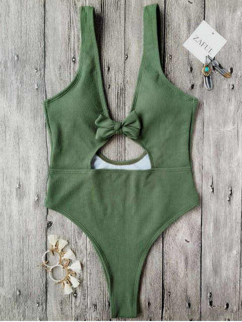 best Bowknot Textured High Cut One Piece Swimsuit - GREEN S Mobile