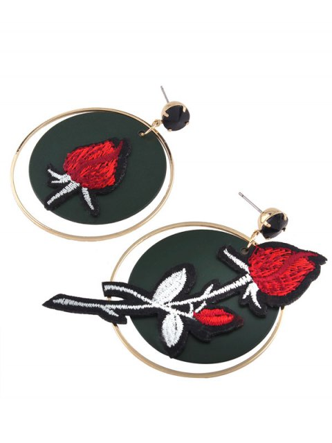 shops Embroidery Rose Flower Circle Drop Earrings - RED  Mobile