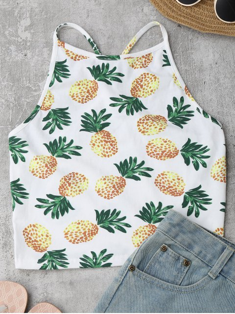 buy Racerback Pineapple Tank Top - WHITE ONE SIZE Mobile