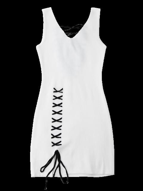 trendy Lace Up Cut Hem Bodycon Knit Dress - WHITE ONE SIZE Mobile
