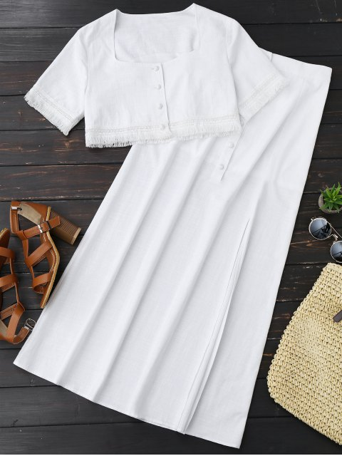 affordable Fringed Crop Top and Maxi Slit Skirt - WHITE M Mobile