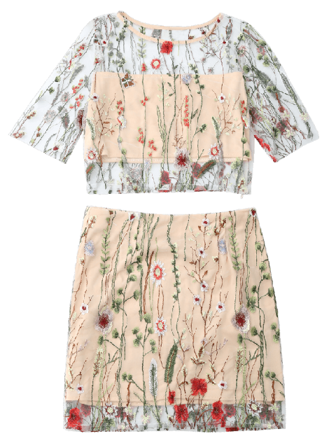 ladies Floral Embroidered See Through Top and A-Line Mini Skirt - FLORAL L Mobile