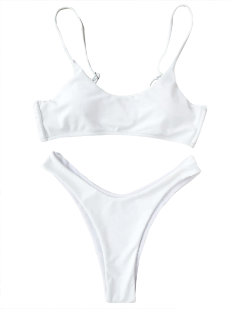 unique Cami Padded Thong Bathing Suit - WHITE S Mobile