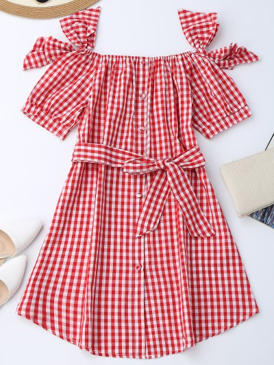 Off Shoulder Bowknot Plaid Dress With Belt - Red