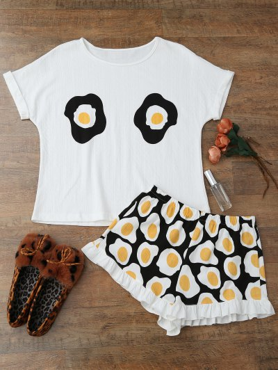 Fried Egg Print T-Shirt With Shorts Loungewear - White