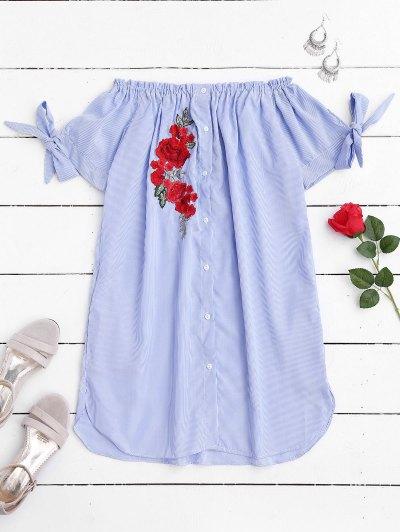 Floral Patched Off Shoulder Casual Dress - Stripe