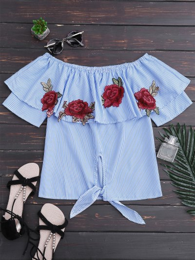 Off Shoulder Striped Knot Hem Floral Top - Blue Stripe Xl