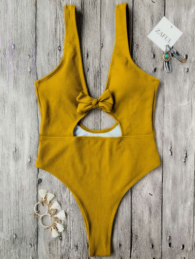Bowknot Textured High Cut One Piece Swimsuit - Mustard S