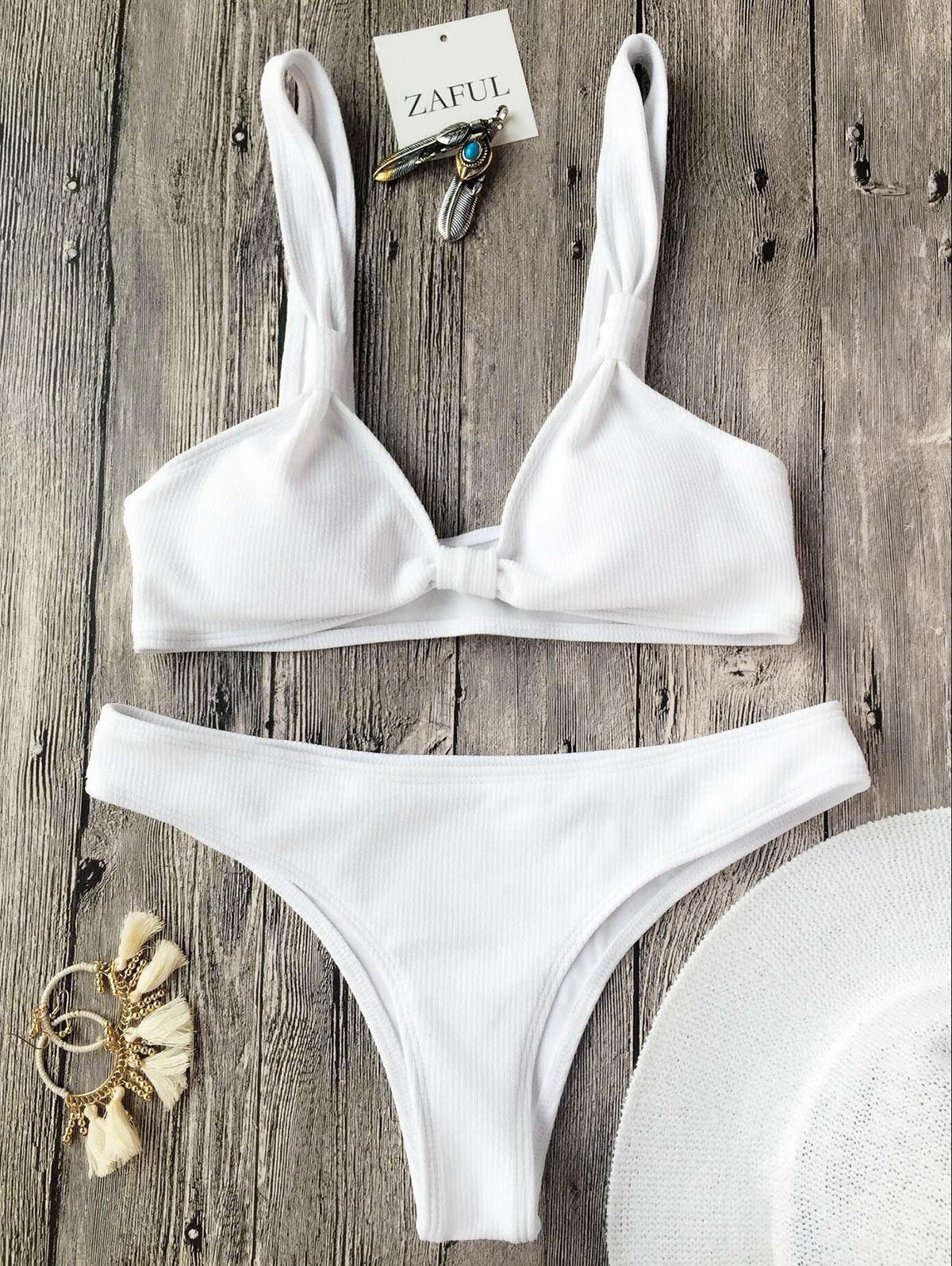 Rib Textured Bralette Scoop Bikini Set, White