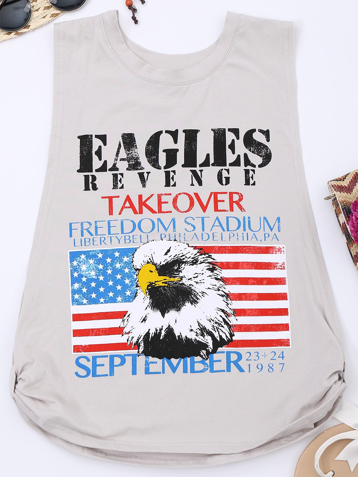 Knotted American Flag Print Tank Top от Zaful.com INT