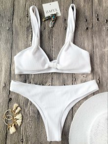 Rib Textured Bralette Scoop Bikini Set - White L