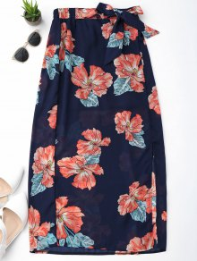 Floral Slit Chiffon Skirt - Purplish Blue S