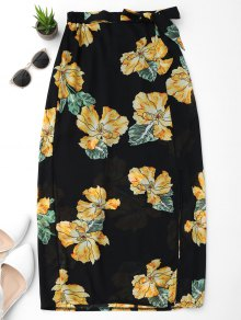 Floral Slit Chiffon Skirt
