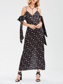 Cami Slit Moon Dress With Arm Tie - Black