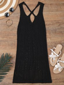 Open Knit Cross Back Cover Up Dress
