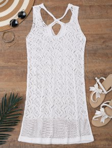 Open Knit Cross Back Cover Up Dress - White S
