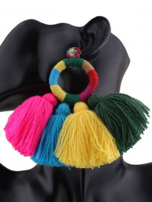 Ethnic Round Tassels Drop Earrings
