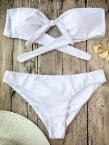 Juego De Bikini Anudado De Banderas Anudadas - Blanco L