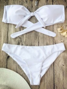 Ruched Knotted Bandeau Bikini Set