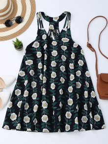 Floral Sleeveless Strappy Back Trapeze Dress