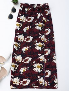 Floral Tie Side Slit Skirt