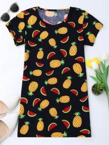 Pineapple Print Short Sleeve Tunic Dress - 2xl