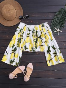 Lemon Cropped Off Shoulder Blouse