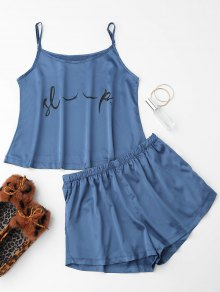 Cute Satin Printed Cami Loungewear Suit