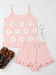 Cute Sun Flower Cami Ruffled Loungewear Suit